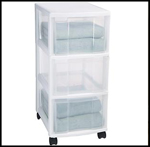 Streamlined Space, Clear 3-Drawer Storage